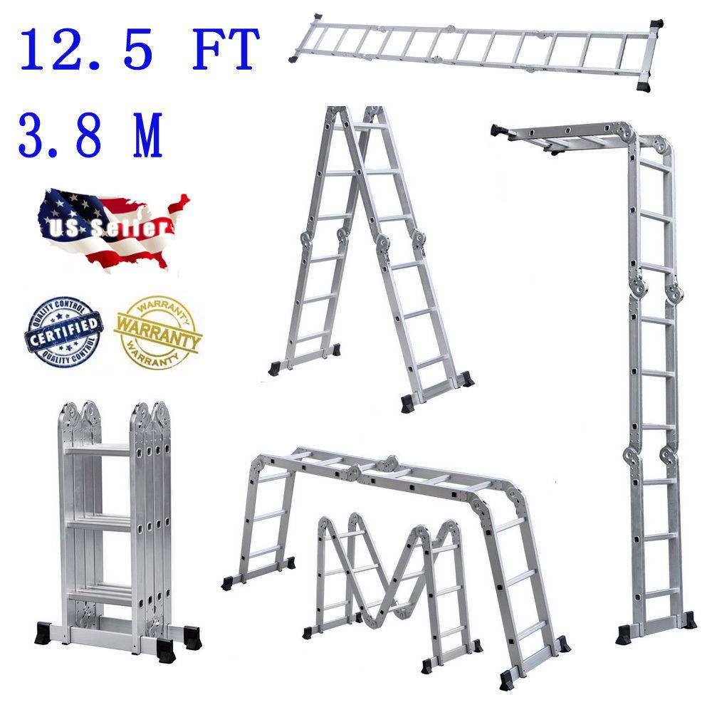 12 5ft multi purpose aluminum folding step ladder scaffold telescopic extension ebay. Black Bedroom Furniture Sets. Home Design Ideas