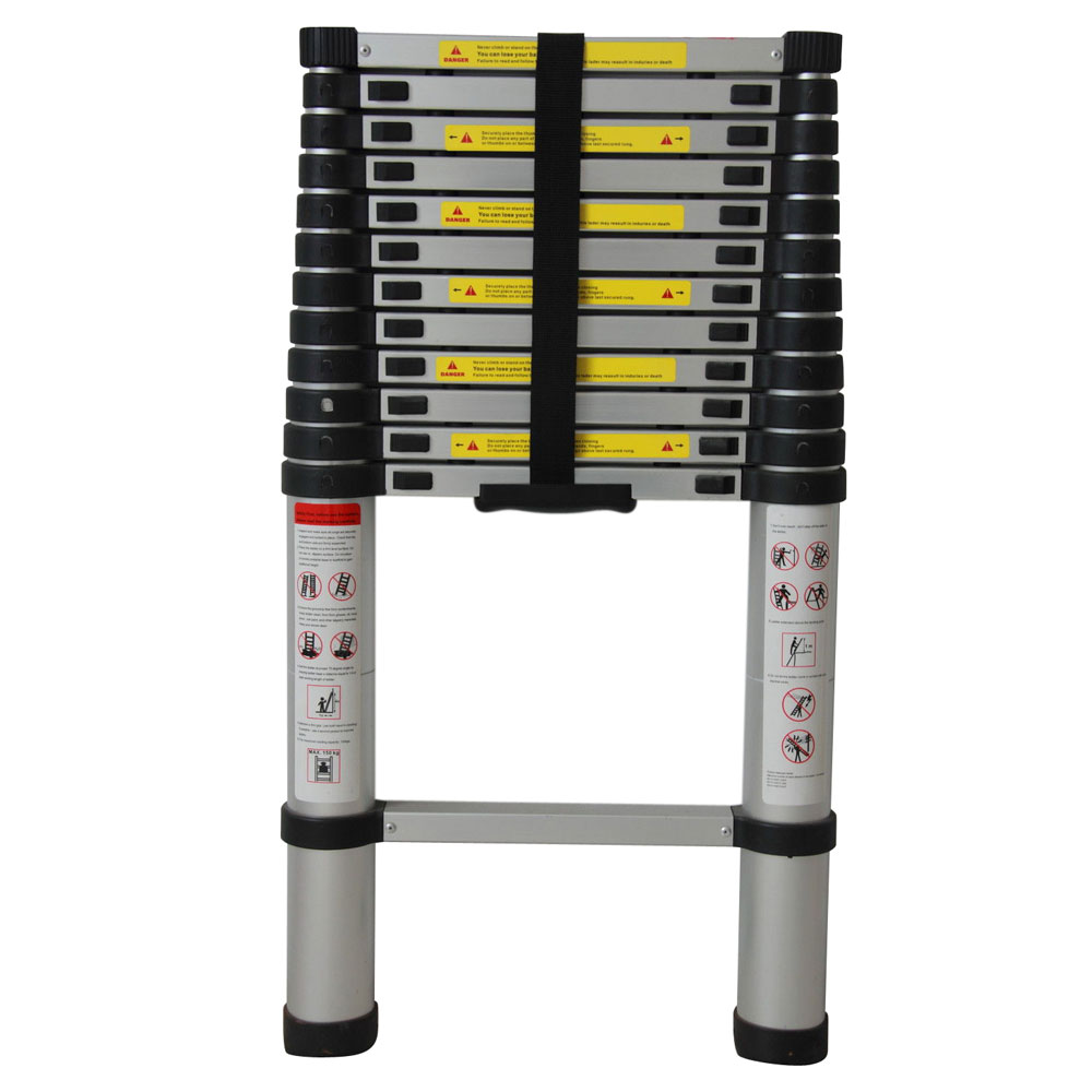 Aluminum Telescopic Ladder : En ft aluminum telescopic extension ladder tall