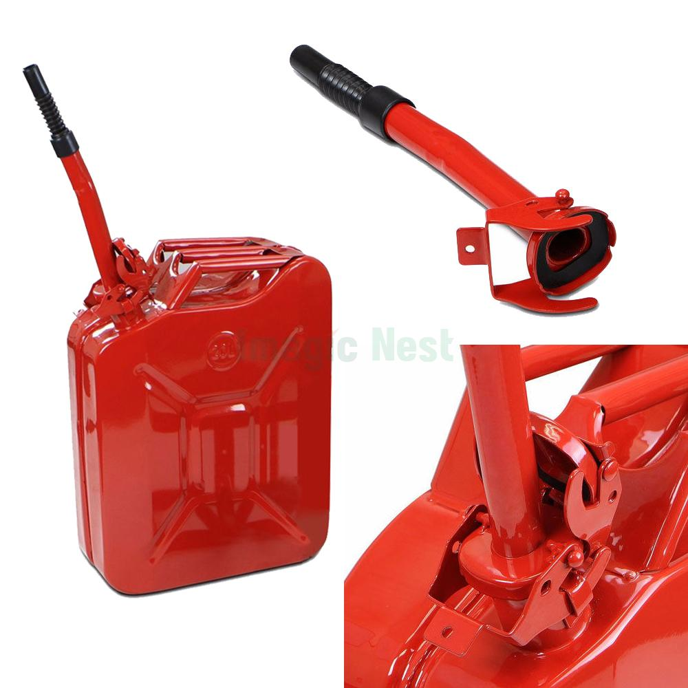 Red 20l 5 Gallon Gas Jerry Can Fuel Steel Tank Military