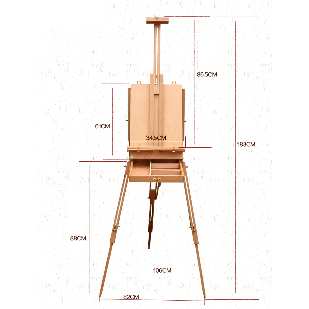 French Tripod Easel Folding Durable Wooden Sketch Box