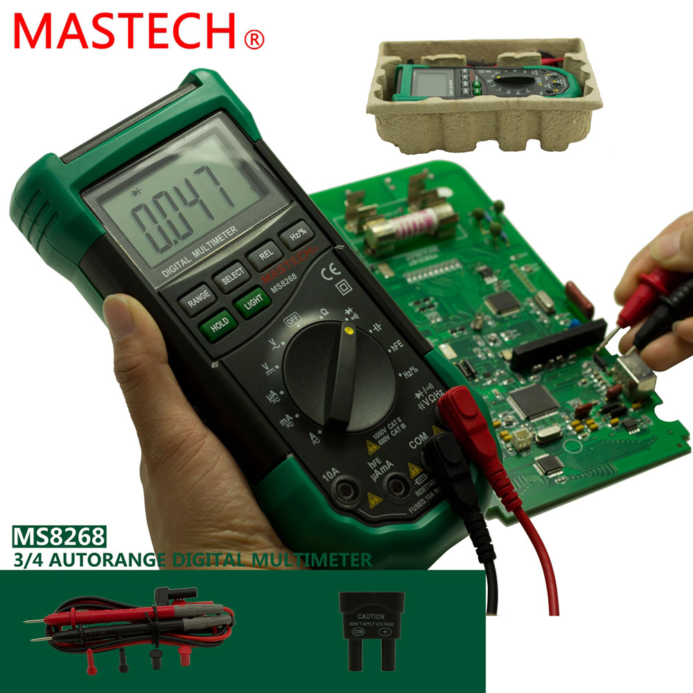 Mastech Ms8268 Digital Multimeter : Mastech ms digital multimeter capacitance ac dc