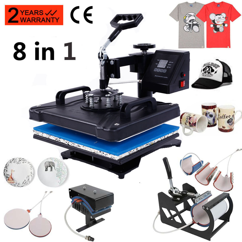 6f91c50c 8 in 1 Heat Press Machine Digital Transfer Sublimation T-Shirt Mug Hat  Plate Cap