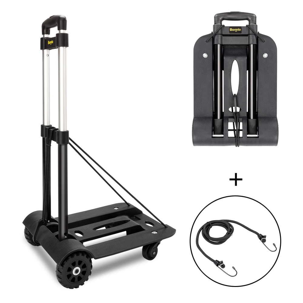 94243c6ab540 Details about New Folding Cart Dolly Push Luggage Hand Truck Collapsible  Trolley W/ 2 PCS Rope