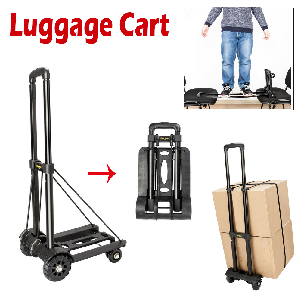 9f0880e80d25 Details about Portable Folding Cart Dolly Push Luggage Hand Truck  Collapsible Trolley W/ Ropes